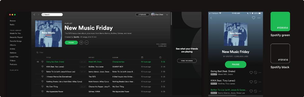 دکمههای گرد در برنامههای Spotify