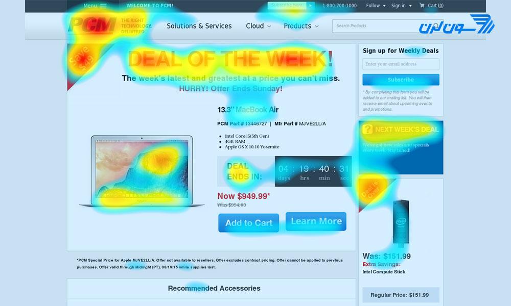 نقشه حرارتی سایت از تجربه کاربری سایت