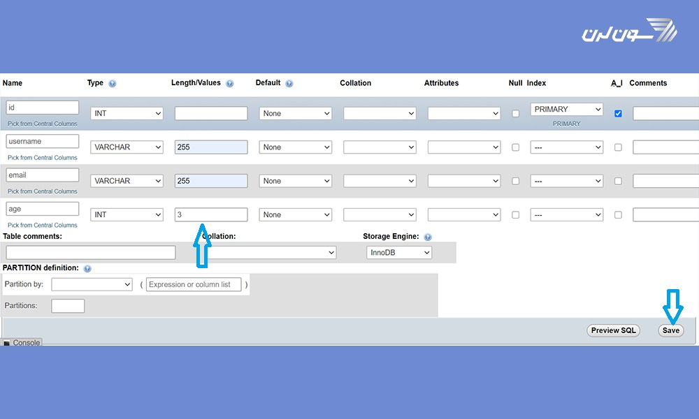 ارسال اطلاعات به ديتابيس در PHP : تنظیمات فیلد age