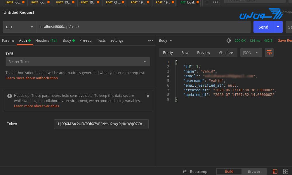 احراز هویت با API در لاراول