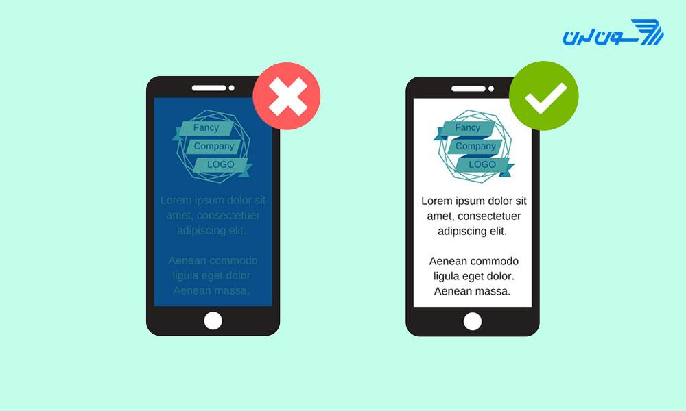 تضاد رنگی بین پس زمینه و متن برنامه موبایل