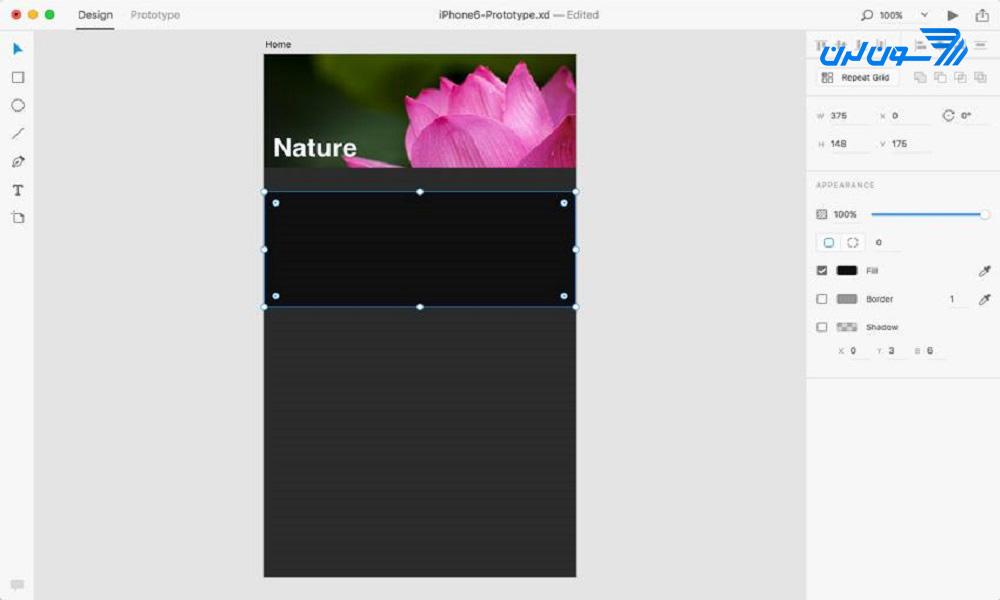 ایجاد پسزمینهی بخش محتوا در Adobe XD
