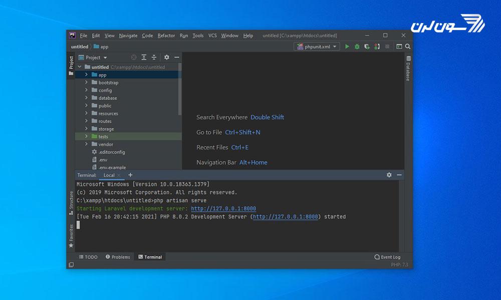 مرحله هفتم نصب لاراول با phpstorm