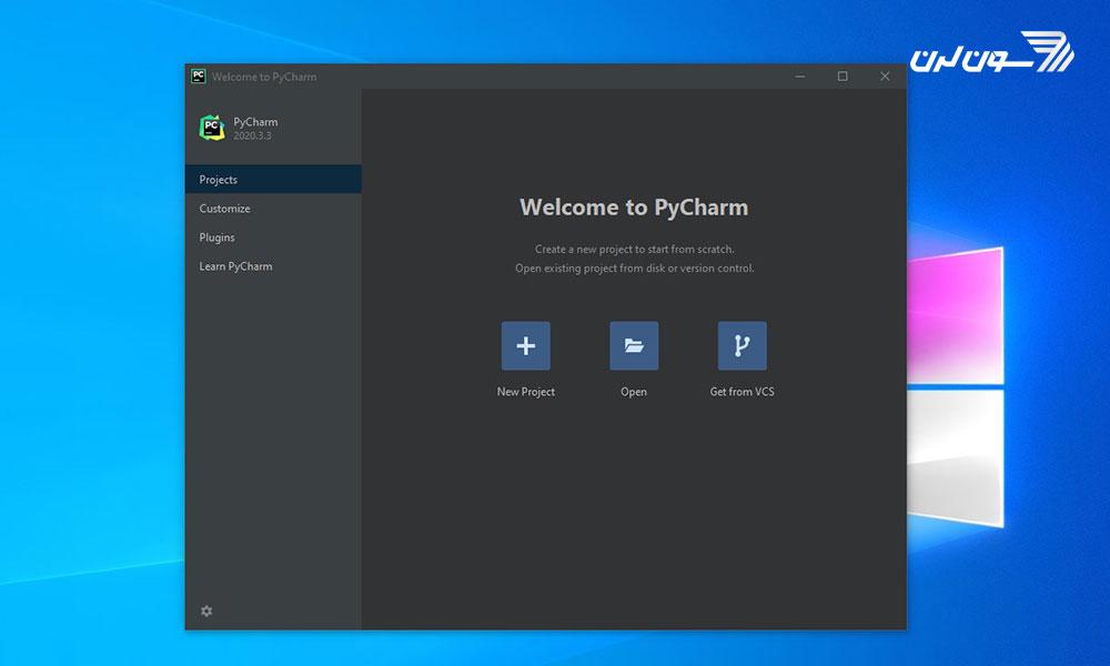 صفحه خوش آمد گویی PyCharm