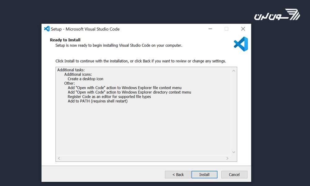 مرور تنظیمات نصب ویژوال استودیو کد